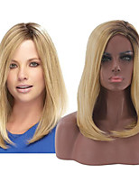 cheap -Synthetic Wig Natural Straight Asymmetrical Wig Medium Length Light golden Synthetic Hair Women's Soft Classic Blonde