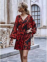 cheap -Women's Shift Dress Short Mini Dress - Long Sleeve Floral Print Spring Summer V Neck Casual Boho Going out 2020 Red S M L XL