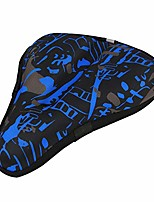 cheap -gel bike seat cover bike saddle cover soft gel exercise bicycle saddle cover kit with waterproof cover, reflective bands for mountain bike, road bike, exercise bike(camouflage blue-l)