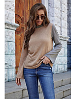 cheap -Women's T-shirt Color Block Long Sleeve Patchwork Round Neck Tops Basic Basic Top Beige