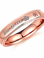 cheap -lovers couple rings his queen and her king stainless steel rings valentines gifts wedding engagement bands (rose gold(female), 6)