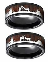 cheap -wedding ring for women - yezijin black ring wood inlay deer stag silhouette ring mens wedding band