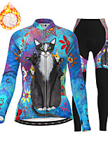 cheap -21Grams Women's Long Sleeve Cycling Jersey with Tights Winter Fleece Polyester Blue Cat Animal Bike Clothing Suit Thermal Warm Fleece Lining Breathable 3D Pad Warm Sports Cat Mountain Bike MTB Road
