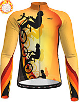 cheap -21Grams Men's Long Sleeve Cycling Jacket Winter Fleece Polyester Yellow Bike Jacket Top Mountain Bike MTB Road Bike Cycling Thermal Warm Fleece Lining Breathable Sports Clothing Apparel / Stretchy
