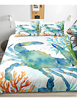 cheap -Ocean Series Crab Print 3-Piece Duvet Cover Set Hotel Bedding Sets Comforter Cover with Soft Lightweight Microfiber(Include 1 Duvet Cover and 1or 2 Pillowcases)