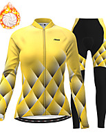 cheap -21Grams Women's Long Sleeve Cycling Jersey with Tights Winter Fleece Polyester Black / Yellow Geometic Bike Clothing Suit Thermal Warm Fleece Lining Breathable 3D Pad Warm Sports Graphic Mountain