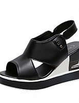 cheap -Women's Sandals Wedge Heel Peep Toe Classic Daily PU Solid Colored White Black