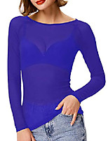 cheap -women's clubwear sheer long sleeve mesh tops tee blouse(l,blue)