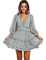 cheap -women summer bohemian dress ruffled floral v neck backless boho dresses mini dresses green m