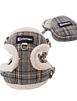 cheap -Dog Cat Harness Vest Adjustable Flexible Breathable Durable Outdoor Walking Plaid / Check Cotton Corgi Pug Bichon Frise Schnauzer Poodle Chihuahua Blue Pink Gray Coffee 1pc