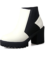 cheap -Women's Boots Chunky Heel Round Toe Casual Daily Walking Shoes PU White Black Yellow / Booties / Ankle Boots