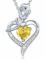 cheap -agvana fine jewelry november birthstone necklace for women sterling silver natural citrine rose flower heart pendant necklace anniversary birthday gifts for girls her wife mom grandma yourself