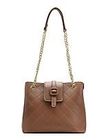 cheap -Women's Bags PU Leather Top Handle Bag Plain Chain Bag Daily Outdoor Black Brown Coffee