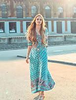 cheap -Women's Swing Dress Maxi long Dress - Half Sleeve Print Lace up Patchwork Print Fall V Neck Plus Size Casual vacation dresses Slim 2020 Blue Blushing Pink Green S M L XL XXL 3XL 4XL 5XL