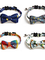 cheap -Dog Collar Tie / Bow Tie Adjustable Retractable With Bell Durable Outdoor Walking Bowknot Flower Animal Nylon Baby Pet Small Dog Rainbow Blue Green Gray 1pc