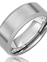 cheap -8mm men's titanium ring wedding band with flat brushed top and polished finish edges [size 10]