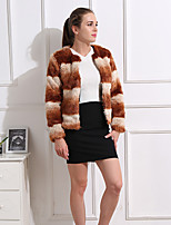 cheap -Long Sleeve Coats / Jackets Faux Fur Party / Evening / Office / Career Women's Wrap With Color Block