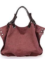 cheap -women canvas large handbag fashion shopping hobo bags (claret-red)