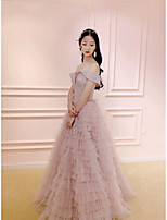 cheap -A-Line Sparkle Elegant Prom Formal Evening Dress Off Shoulder Short Sleeve Floor Length Tulle with Sequin Ruffles Tier 2020