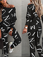 cheap -Women's 2 Piece Set Patchwork Fashion Streetwear Crew Neck Letter Printed Sport Athleisure Clothing Suit Long Sleeve Breathable Moisture Wicking Soft Sweat Out Comfortable Exercise & Fitness Running