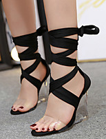 cheap -Women's Sandals Wedge Heel Peep Toe Roman Shoes Daily PU Solid Colored Black