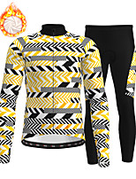 cheap -21Grams Men's Long Sleeve Cycling Jersey with Tights Winter Fleece Polyester Black / Yellow 3D Bike Clothing Suit Thermal Warm Fleece Lining Breathable 3D Pad Warm Sports Graphic Mountain Bike MTB