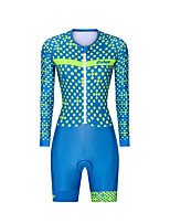 cheap -Men's Women's Long Sleeve Triathlon Tri Suit Polyester Blue Polka Dot Bike Clothing Suit Breathable 3D Pad Quick Dry Reflective Strips Sweat-wicking Sports Polka Dot Mountain Bike MTB Road Bike