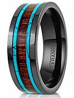 cheap -elegant hi-tech 6mm/8mm gunmetal black flat ceramic band style ring w/koa wood inlay between 2 blue turquoise inlays. (ceramic (6mm), 5)