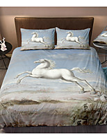 cheap -Horse Print 3-Piece Duvet Cover Set Hotel Bedding Sets Comforter Cover with Soft Lightweight Microfiber(Include 1 Duvet Cover and 1or 2 Pillowcases)