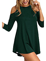 cheap -womens cold shoulder 3/4 sleeve swing tunic tops for leggings (large, dark green)