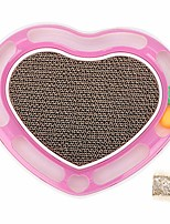 cheap -heart-shaped cat kitten scratcher scratching pad board pet toy grinding cat claw toys with bell balls (pink)