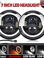 cheap -2 Pcs 7 Inch LED Headlights 80W H4 Hi/low Beam Angle Eye Auto Led Driving Lights For Offroad Niva Lada 4x4 12V 24V 6500K 3500K