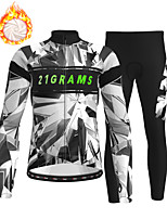 cheap -21Grams Men's Long Sleeve Cycling Jersey with Tights Winter Fleece Polyester Grey Bike Clothing Suit Fleece Lining Breathable 3D Pad Warm Quick Dry Sports Graphic Mountain Bike MTB Road Bike Cycling