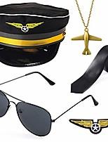 cheap -airline pilot captain costume kit pilot dress up accessory set with aviator sunglasses (black)