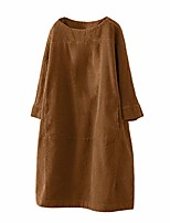 cheap -women's vintage pockets corduroy solid color long sleeve loose casual dress