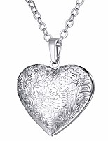 cheap -flower grain heart locket necklace that hold picture/urn ashes platinum plated memorial jewelry for women/girls/pet