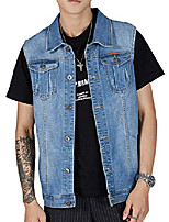 cheap -men's casual button front denim trucker vest sleeveless jean jacket (light blue, x-small)