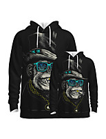 cheap -Family Look Active Orangutan Graphic Optical Illusion Animal Print Long Sleeve Regular Hoodie & Sweatshirt Black