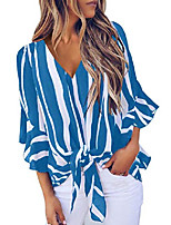 cheap -womens sexy striped printed v neck shirt ruffles bell sleeve tops tie knot flowy chiffon vacation blouses xl blue