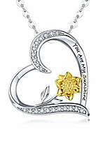 cheap -sterling silver sunflower necklace s925 heart pendant cz pave 18k gold dipped flowers necklaces jewelry gift for women mom lover friends