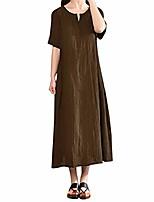 cheap -tuduz sale womens baggy shirt dress ladies plus size casual solid bohemia v-neck short sleeve cotton linen maxi dress(coffee,m=uk(10))