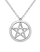 cheap -gold silver supernatural star pentagram pentacle pendant necklace wicca pagan jewelry (silver)