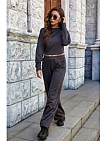 cheap -Women's Basic Plain Daily Two Piece Set Sweatshirt Pant Tops