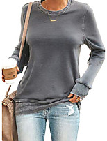 cheap -women long sleeve sweatshirt round neck casual loose pullover tops shirts green small