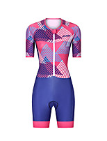 cheap -Men's Women's Short Sleeve Triathlon Tri Suit Polyester Red Stripes Bike Clothing Suit Breathable 3D Pad Quick Dry Reflective Strips Sweat-wicking Sports Stripes Mountain Bike MTB Road Bike Cycling