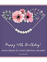 cheap -70th birthday gifts for women - sterling silver necklace seven pearls for her 7 decades - 70 years old jewelry gift idea (70th)