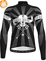 cheap -21Grams Men's Long Sleeve Cycling Jersey Winter Fleece Polyester Black Skull Christmas Bike Jersey Top Mountain Bike MTB Road Bike Cycling Fleece Lining Warm Quick Dry Sports Clothing Apparel