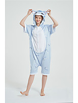 cheap -Adults' Kigurumi Pajamas Cat Onesie Pajamas Pure Cotton Blue Cosplay For Men and Women Animal Sleepwear Cartoon Festival / Holiday Costumes