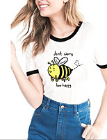 cheap -Women's T-shirt Cartoon Letter Patchwork Print Round Neck Tops Basic Basic Top White Black Blue