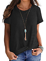 cheap -women's knit waffle top summer short sleeves twisted knot t shirts, black, xl